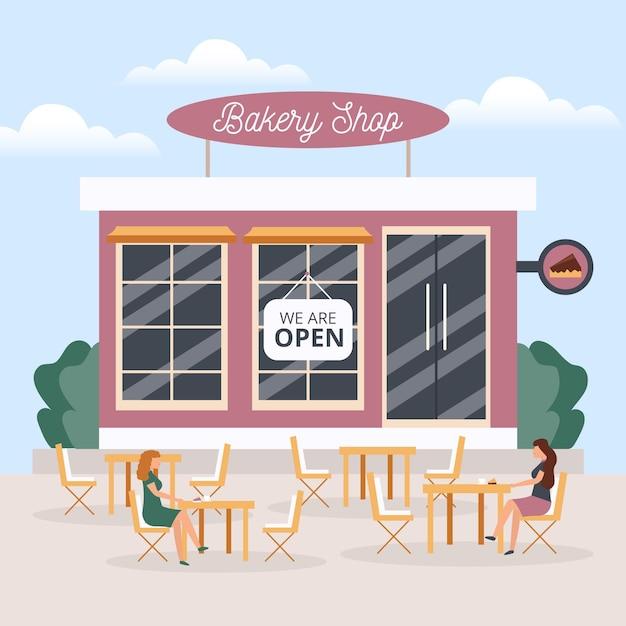 Geopende bakkerijwinkel met mensen die afstand houden Gratis Vector