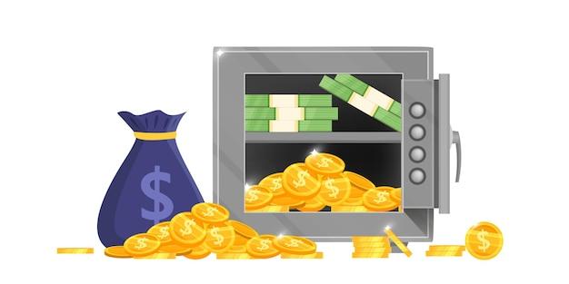 Geopende bank kluis vectorillustratie met geldzak, dollarbiljetten, gouden munten, veilig slot geïsoleerd op wit. Premium Vector