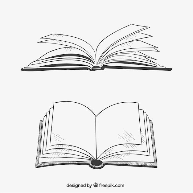 Geopende boeken in de hand getrokken stijl Gratis Vector