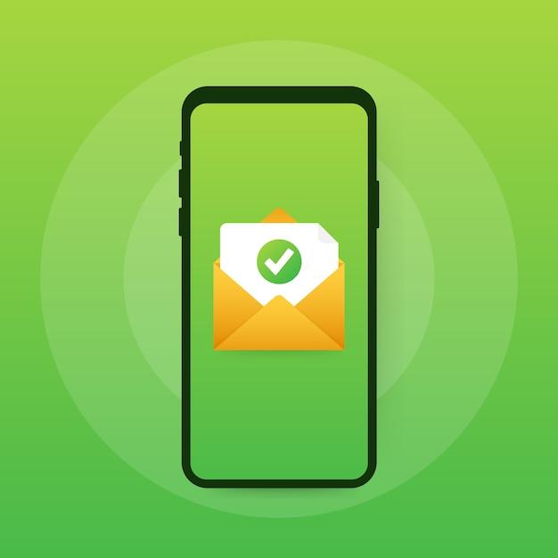 Geopende envelop en document met groen vinkje. verificatie email. Premium Vector