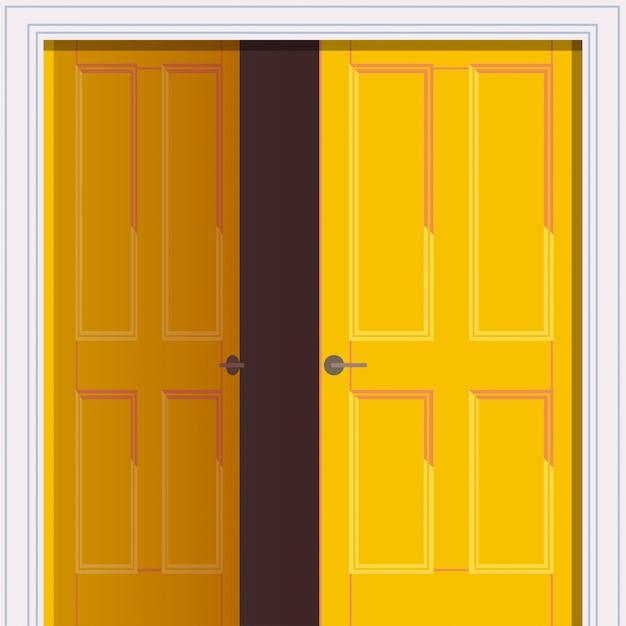 Geopende gele deur vrijheid openingsconcept Premium Vector