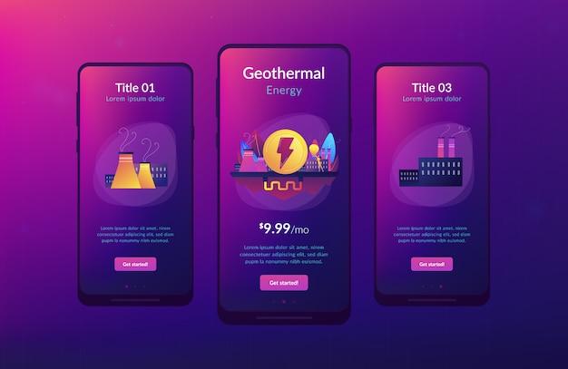 Geothermische energie app-interfacemalplaatje. Premium Vector