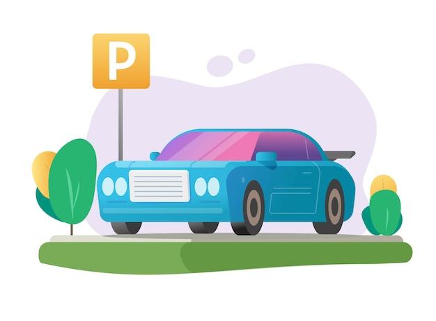 Geparkeerde auto of auto parkeerplaats en voertuig vrij park gebied gazon gras plaats met verkeersbord illustratie cartoon Premium Vector