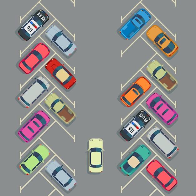 Geparkeerde auto's op het parkeren hoogste mening, stadsvervoer Premium Vector