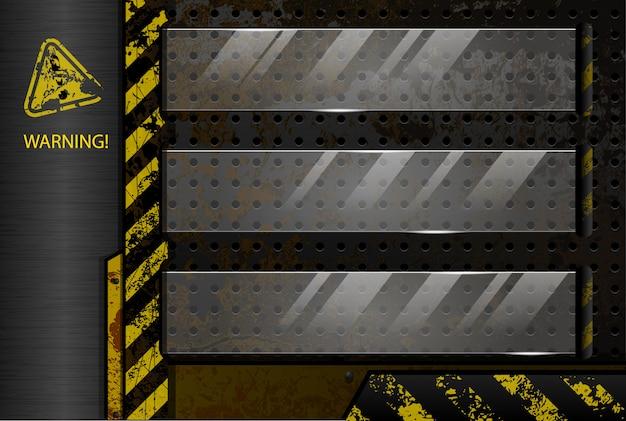 Geperforeerde industrie achtergrond met glazen bericht frames Premium Vector