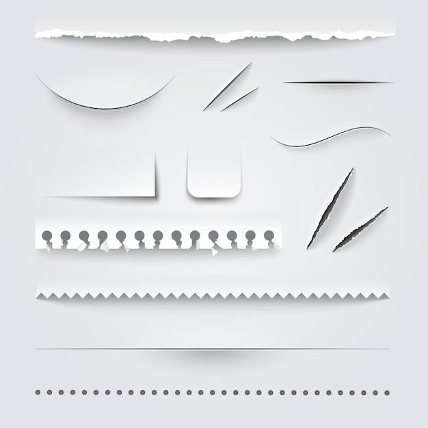 Geperforeerde papierset Gratis Vector