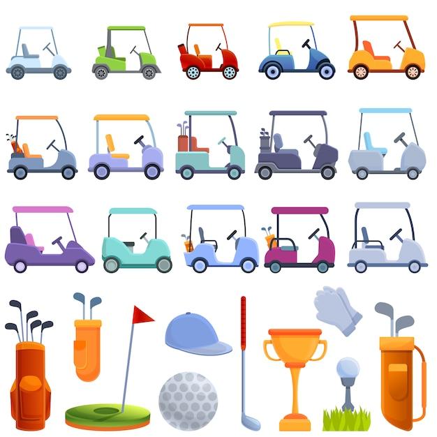 Geplaatste de pictogrammen van de golfkar, beeldverhaalstijl Premium Vector