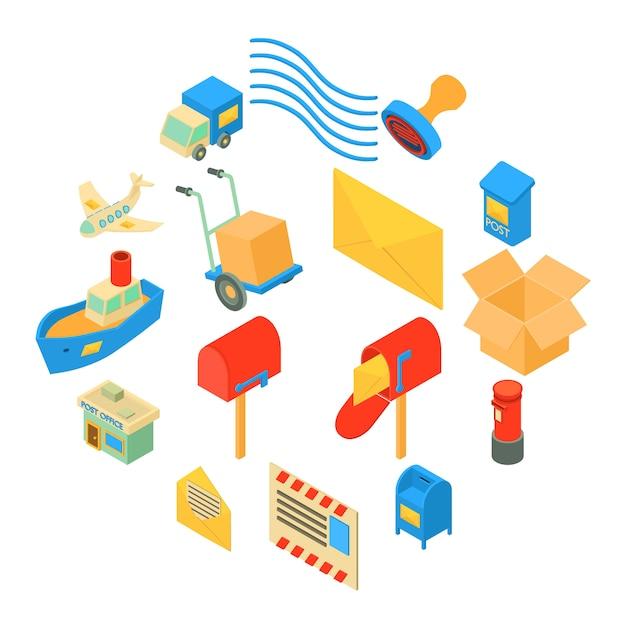 Geplaatste de pictogrammen van de poste dienst, isometrische stijl Premium Vector