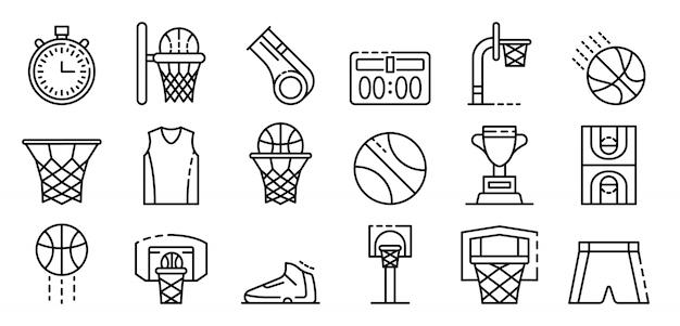 Geplaatste de pictogrammen van het basketbalmateriaal, schetsen stijl Premium Vector