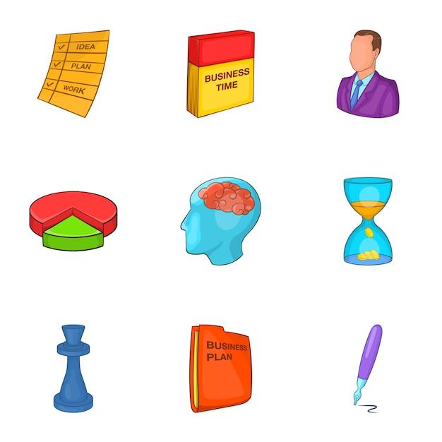 Geplaatste de pictogrammen van het businessplan, beeldverhaalstijl Premium Vector
