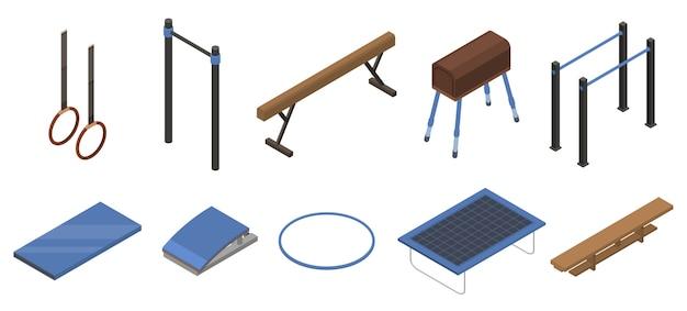 Geplaatste de pictogrammen van het gymnastiekmateriaal, isometrische stijl Premium Vector