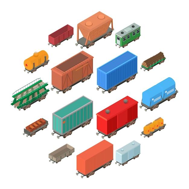Geplaatste de pictogrammen van het spoorwegvervoer, isometrische stijl Premium Vector