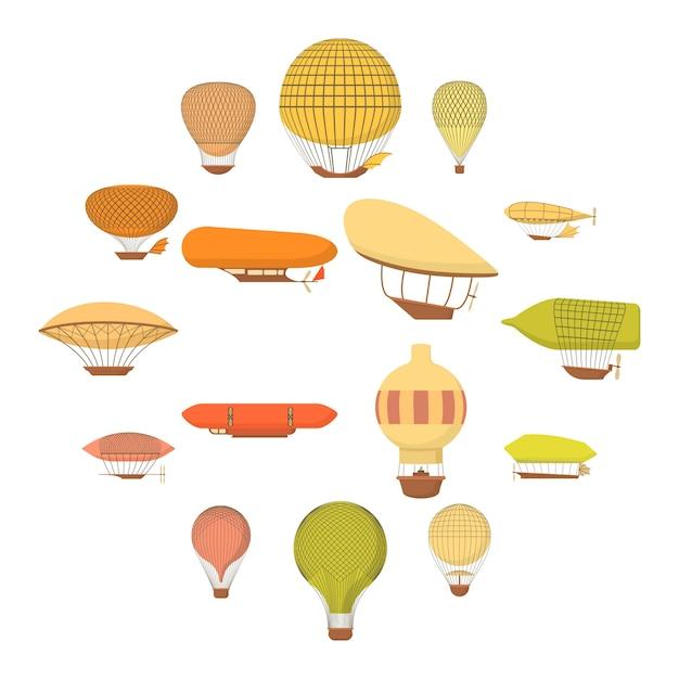 Geplaatste de pictogrammen van luchtschipballons, beeldverhaalstijl Premium Vector