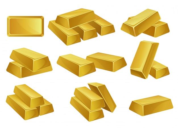 Geplaatste goudstaven, bankzaken, welvaart, schat siymbols illustraties op een witte achtergrond Premium Vector