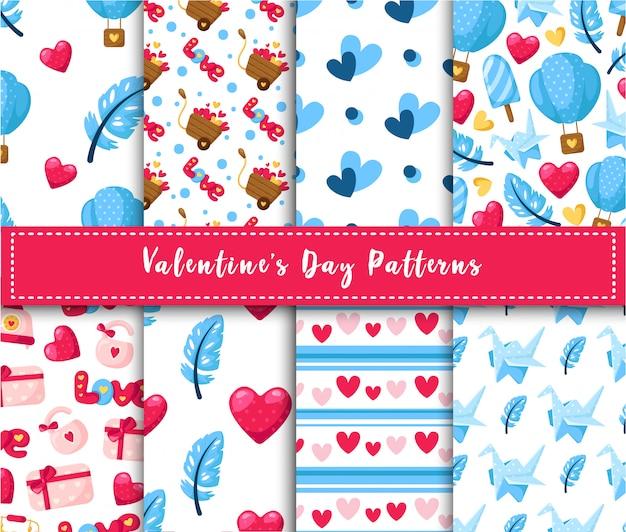 Geplaatste het naadloze patroon van valentine day - de ballon van de beeldverhaallucht, document kraan, veer, giftvakje, abstracte textuur Premium Vector