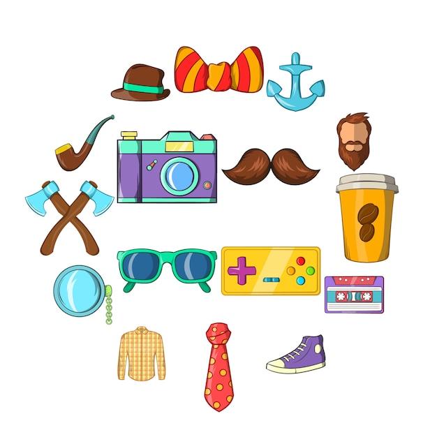Geplaatste hipsterpictogrammen, cartoonstijl Premium Vector