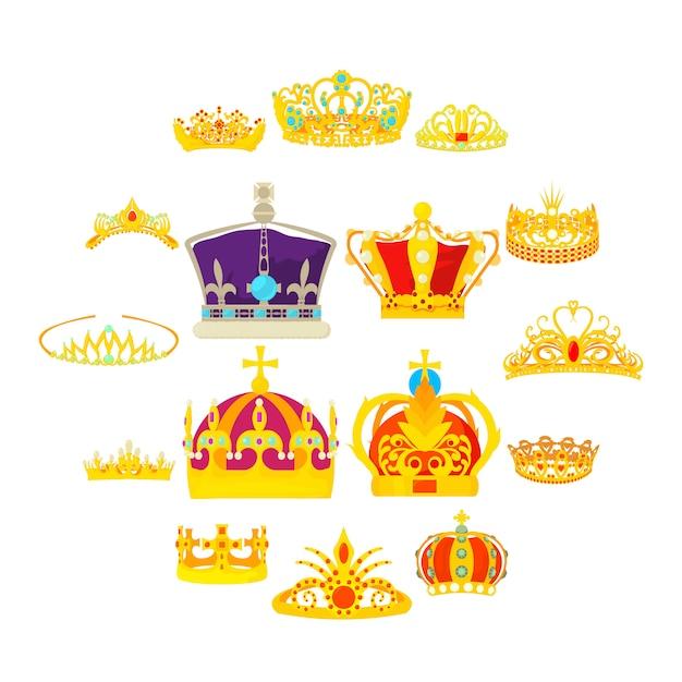Geplaatste koninklijke koninklijke pictogrammen, beeldverhaalstijl Premium Vector