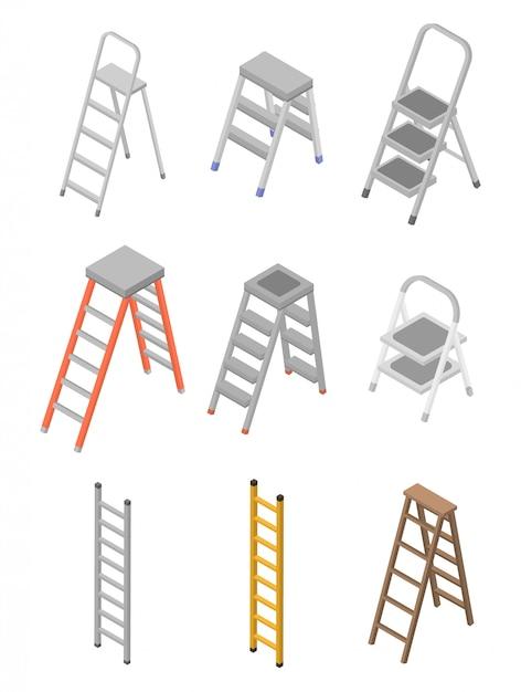 Geplaatste ladderpictogrammen, isometrische stijl Premium Vector