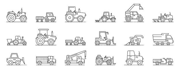 Geplaatste landbouwmachinespictogrammen, schetst stijl Premium Vector