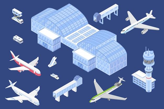Geplaatste luchthaven isometrische pictogrammen, illustratie met geïsoleerde vliegtuigen en speciaal materiaal voor luchthaventerminal voor ontwerp of spel. Premium Vector