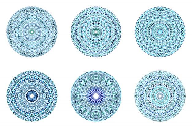 Geplaatste mandala van het bloemornament - overladen geometrische abstracte grafisch Premium Vector