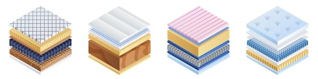 Geplaatste matraspictogrammen, isometrische stijl Premium Vector