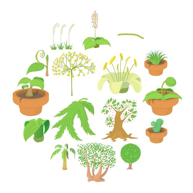 Geplaatste pictogrammen van aard de groene symbolen, beeldverhaalstijl Premium Vector
