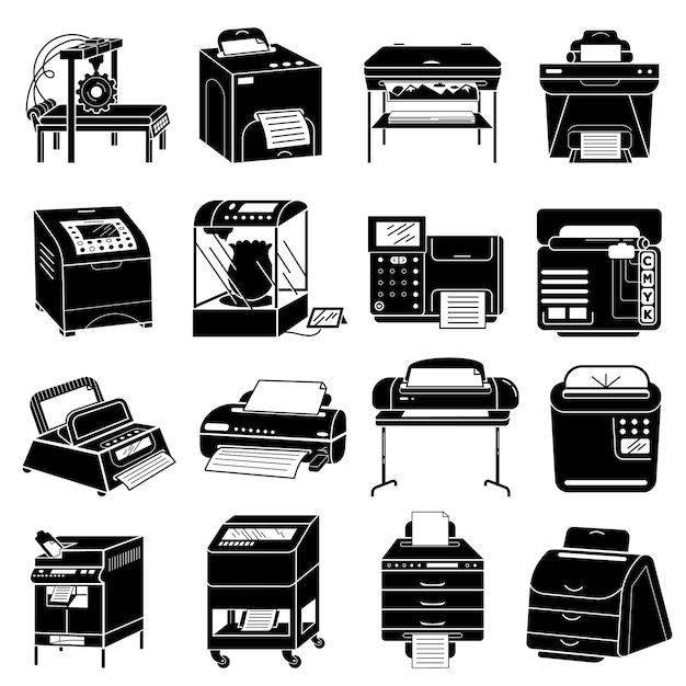 Geplaatste printerpictogrammen, eenvoudige stijl Premium Vector