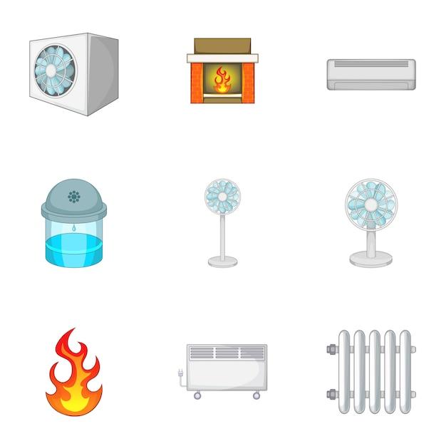 Geplaatste verwarmingssysteempictogrammen, beeldverhaalstijl Premium Vector