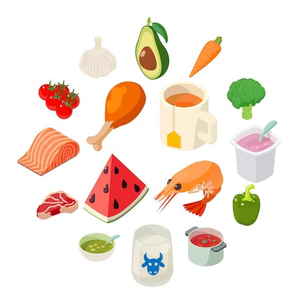 Geplaatste voedselpictogrammen, isometrische stijl Premium Vector