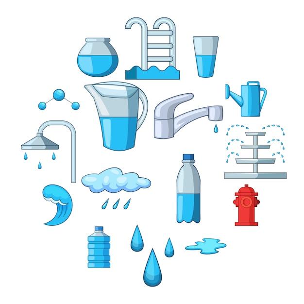 Geplaatste waterpictogrammen, cartoonstijl Premium Vector