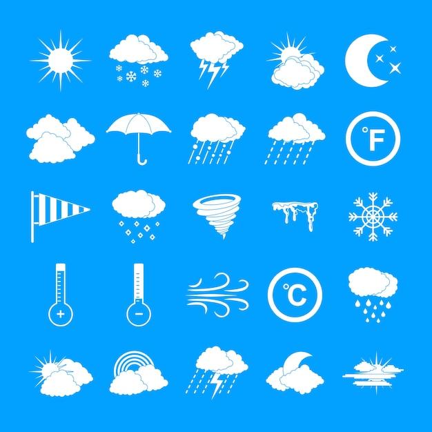 Geplaatste weerpictogrammen, eenvoudige stijl Premium Vector