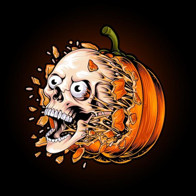Gepompt schedelhoofd van halloween-pompoenillustratie Premium Vector
