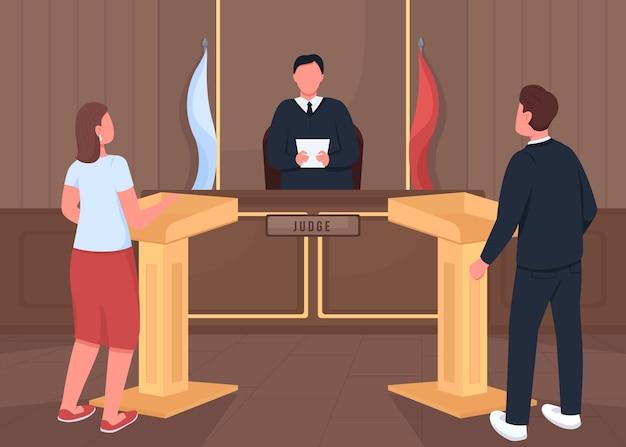 Gerechtsgebouw rechtszaak procedure egale kleur illustratie. advocaat en aanklager. getuige hoorzitting. rechter, man en vrouw 2d stripfiguren met rechtszaal interieur op achtergrond Premium Vector
