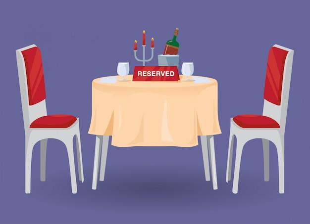 Gereserveerde tabel voor twee illustraties Premium Vector
