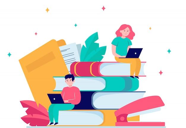 Gerichte mensen die studeren in online school Gratis Vector