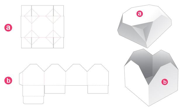 Geschenkdoos en afgeschuind achthoekig deksel gestanst sjabloon Premium Vector