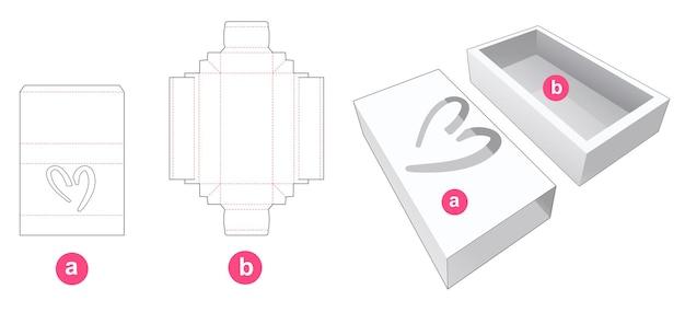 Geschenkdoos en deksel met hartvormig venster gestanst sjabloon Premium Vector