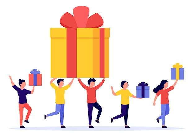 Geschenkdoos en groep gelukkige mensen. beloning, prijs, weggeefactie, bonus. verwijzingsprogramma. Premium Vector