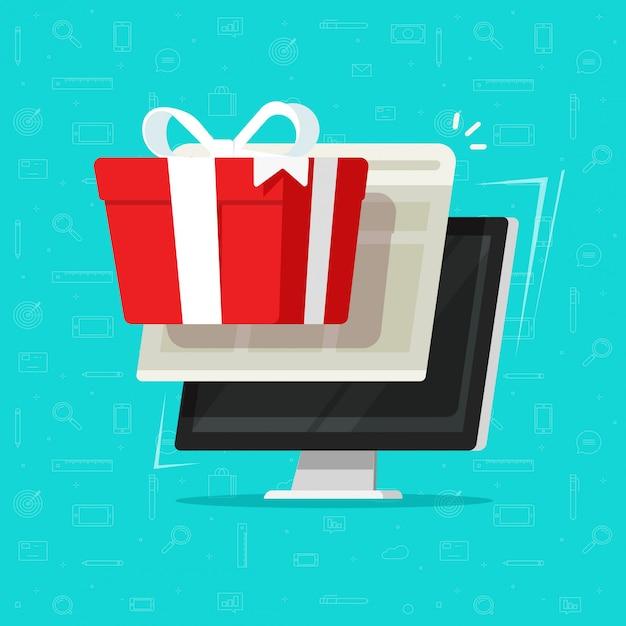 Geschenkdoos winnen of prijs op computer platte cartoon Premium Vector