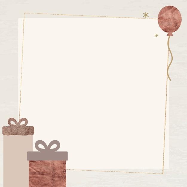 Geschenkdozen en ballon met glinsterende frame met sterlichtjes Gratis Vector