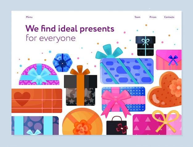 Geschenken verpakking dienst platte banner met kleurrijke inpakpapier linten rond hart rechthoekige dozen Gratis Vector