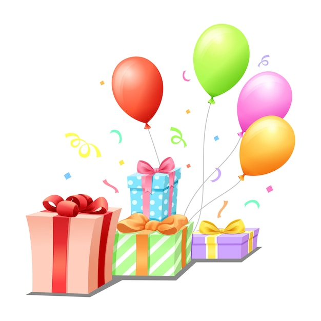 Geschenkenballon en regenboog voor viering Premium Vector