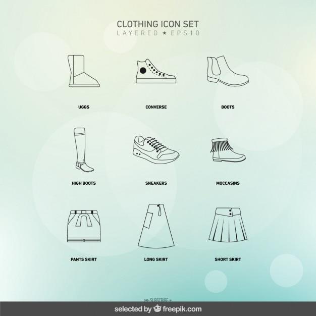 Geschetst kleding pictogrammen instellen Gratis Vector