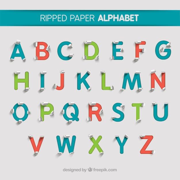Gescheurd papier alfabet Gratis Vector
