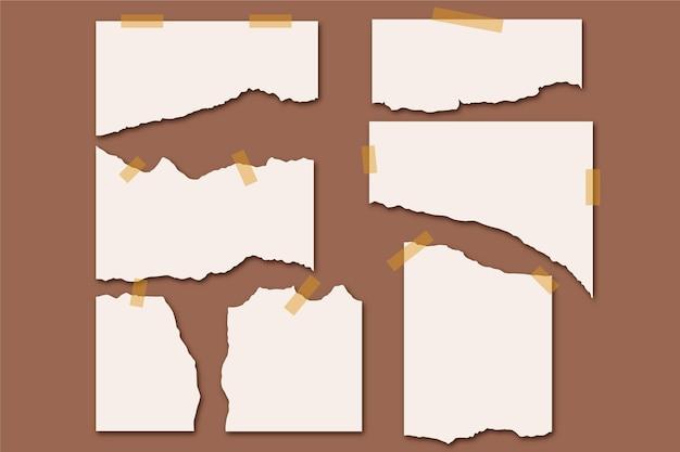 Gescheurd papier collectie met tape op bruine achtergrond Premium Vector