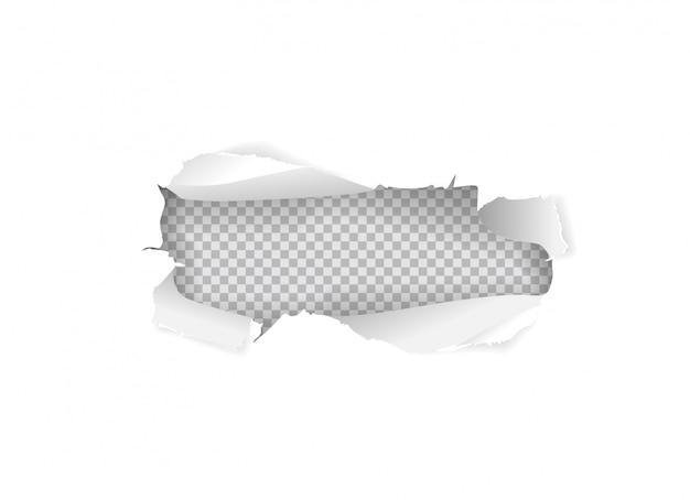 Gescheurd papier gat in wit vel papier geïsoleerd Premium Vector