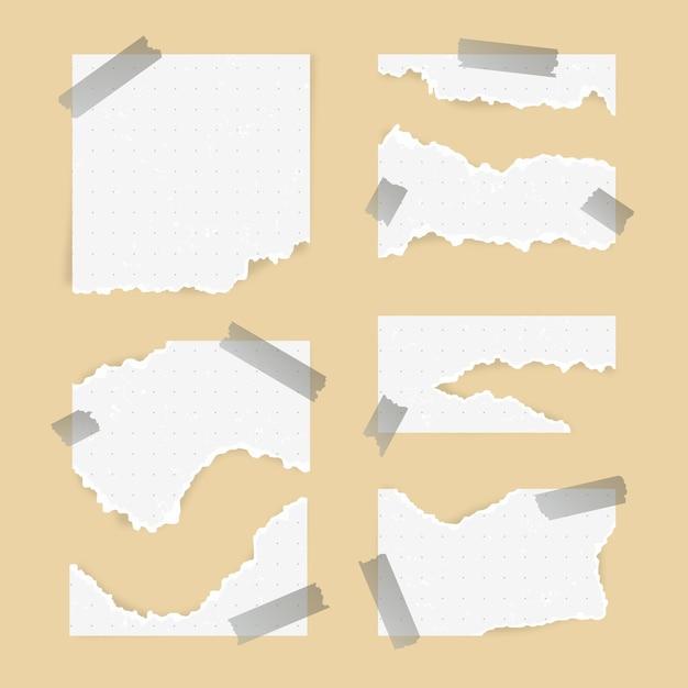 Gescheurd papier in verschillende vormen met plakband Premium Vector