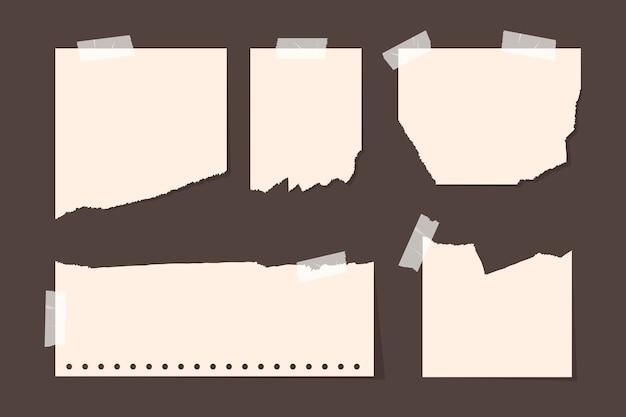 Gescheurd papier in verschillende vormen pack Gratis Vector