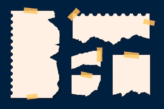 Gescheurd papier in verschillende vormen Premium Vector
